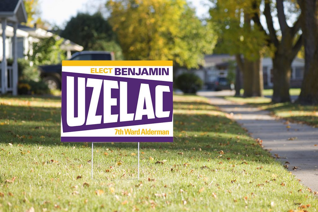 A picture of Uzelac for Alderman yard sign